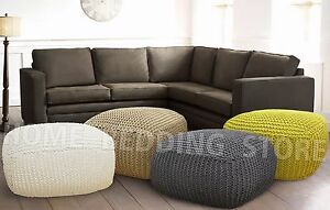 100% Cotton Large Hand Knitted Foot Stool Pouffe Ottoman Cube Grey Cream Yellow