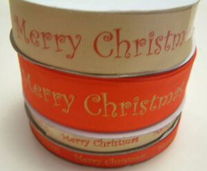 Merry Christmas Ribbon - Full 25m Rolls - Red or Gold
