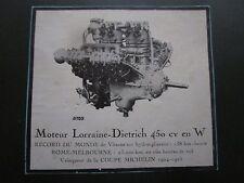 7/1925 PUB MOTEUR LORRAINE DIETRICH 450 CV EN W AERO ENGINE ROMA MELBOURNE AD