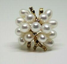 Estate 18k Yellow Gold Pearl and Diamond Cocktail Ring Size 8.5