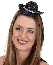 Womens Mini Cowgirl Hat on Headband Black Cow Boy Girl Cowboy Costume Halloween