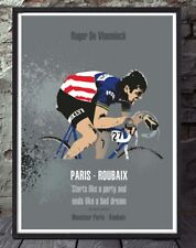 Paris roubaix roger de vlaeminck bicycle poster celebrating the classics.