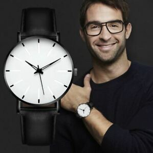 Men's: Classic Designer, White Face, Blue-Ray Glass, Black Leather Strap Watch
