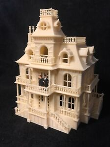 HO Scale Built Wood Color Miniature Victorian #4 Mansion Haunted House SHELL
