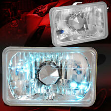 4x6 H4656 DIAMOND CUT SQUARE CHROME HOUSING GLASS LENS HEADLIGHTS+H4 BULBS LAMP