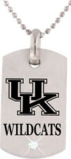 UNIVERSITY KENTUCKY WILDCATS * Stainless Steel Dog Tag w/Cubic Zirconia NCAA NEW