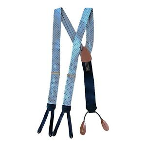 Trafalgar Silk Suspenders Blue Polka Dot Leather Braces England