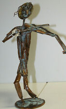 Kosie Wium copper metal statue - Violinist -South Africa artist signed