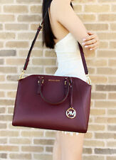 Michael Kors Ciara Large Top Zip Satchel Saffiano Leather Merlot