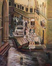 "NEW DAVID ALDUS ORIGINAL ""Uffizi Gallery Florence"" Tuscany Italy OIL PAINTING"