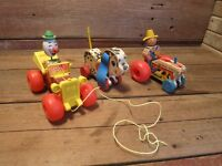 Fisher-Price Vintage Pull Toy Lot Farmer Tractor Jalopy Playful Puppy - Parts!
