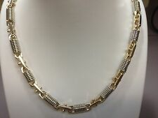 """14k Two Tone Gold Mens Handmade Chain Necklace 20"""" 8 Mm. 120 Grams"""