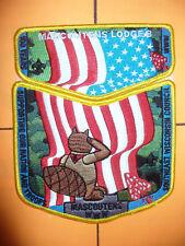 OA Mascoutens Lodge 8, 2010 BSA Jamboree,2, Two Part Set, US Flag,YEL Bdr,636,WI
