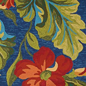 """Couristan Covington Tropical Orchid Azure/Green/Red In/Out Rug, 2'6""""x8'6"""" Rn"""