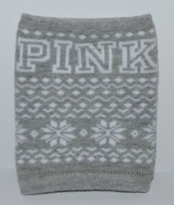 VICTORIA'S SECRET PINK GRAY SWEATER KOOZIE DRINK SODA LOTION BOTTLE HOLDER COVER
