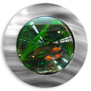 NEW! WALL MOUNTED FISH TANK - BRUSHED ALUMINUM STYLE BETTA BUBBLE AQUARIUM