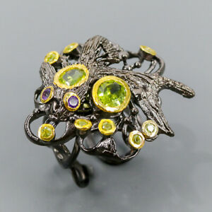 Vintage SET Peridot Ring Silver 925 Sterling  Size 8 /R150884