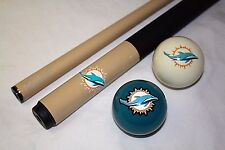 NFL Miami DOLPHINS Eliminator Billiard Pool Cue Stick & Team Logo Cue Ball Combo
