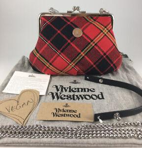 VIVIENNE WESTWOOD RED BLACK TARTAN BONDAGE YASMINE FRAME PURSE SHOULDER BAG BNWT
