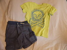 NWT 5 5T 6 5-6 CRAZY 8 by GYMBOREE TOTALLY TROPICAL SKULL TOP & SHORTS OUTFIT