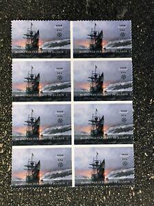 2020USA #5524 Forever Mayflower - Block of 8  mint sheet  ship boat