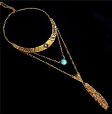 Multi layer choker necklace tassel necklace gold toned turquoise colored stone