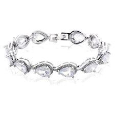 MODOU Brand-New Pear Brilliant White Sapphire White Gold Filled Tennis Bracelet