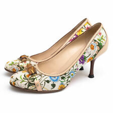 GG  floral canvas heels with bamboo bits and wooden heels