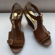 Michael Kors MK Logo Zipper Wedge Sandals Size 8M Pre-owned