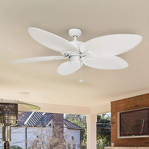 Tropical Ceiling Fan Palm Island 52 In Indoor Outdoor 5 Leaf Blades White Metal