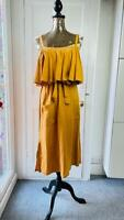 NEXT Summer Spring Midi Dress Bardot neck Linen Blend size 10 EUR 38 RRP£36