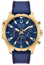 New Bulova Gold Tone Marine Star Leather Strap Men' s Watch 97B168