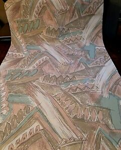 Vintage Mid-Century Style Wallpaper - Pink, Aqua, Taupe Abstract, 2 Rolls 120 SF