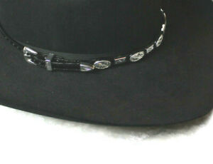 Western Cowboy Silver Concho Leather Belted Hatband Black or Brown