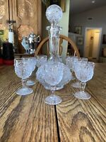 ELEGANT IMPERIAL  PATTERN GLASS DECANTER with STOPPER /8 Ftd Glasses EUC