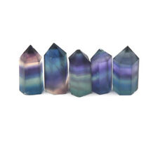 1x Natural Hexagonal Crystal Quartz Healing Fluorite Wand Stone Colourful Gem