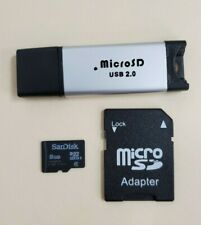 SanDisk 8GB Class 4 MicroSDHC Card - Micro SD Adapter - USB 2.0 Adapter - BUNDLE