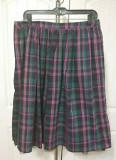 Nordstrom 1901 Plaid Holiday Skirt Black Tulle Trim Green Pink Med 8-10 NWT