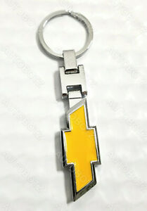 For CHEVROLET Metal Chrome Emblem YELLOW Style Keychain Key Fob Ring