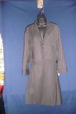 600 West Black Jacket Skirt Suit Brown Broken Strip Lined size S new Retail $140