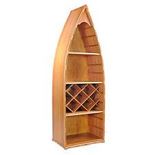 "Wine Rack Canoe Book Shelf 74"" Bookcase Cedar Wood Nautical Row Boat Decor New"