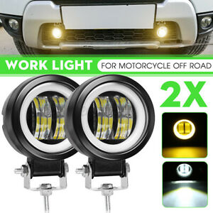 2X 3'' Angle Eyes LED Spot Work Light Bar Pods Off Road Driving Fog Lamp Yellow