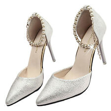 Women's Pointed Toe Leather Beaded Strap Stiletto High Heels Pumps Wedding Shoes