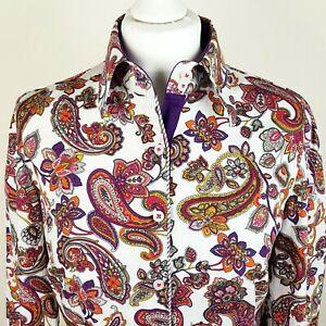 BETTY BARCLAY ELEMENTS Button Up Shirt 38/UK10 Autumn Paisley Contrast Trim