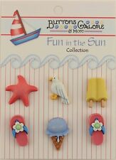 """Buttons Galore & More FUN IN THE SUN """" Life's a Beach"""" 3D - 6  Hand Dyed Buttons"""