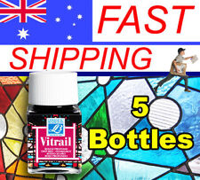 Vitrail Glass Stain - Glass paints - Choice of 18 colours - 5 Jar Bundle