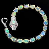 NATURAL AAA RAINBOW OPAL & CZ STERLING 925 SILVER SNAKE BRACELET LENGHT 7 INCH.