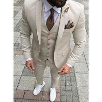 Cream Men's Wedding Groom Suits  3 Piece Prom Tuxedo Slim Fit Groom Wear Custom