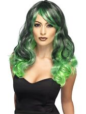 vert & Noir sorcières Perruque Femmes Halloween Sorcière Accessoire déguisement