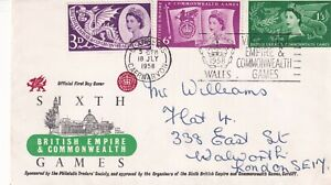 18 JULY 1958 COMMONWEALTH GAMES ILLUSTRATED FIRST DAY COVER LLANBERIS SLOGAN